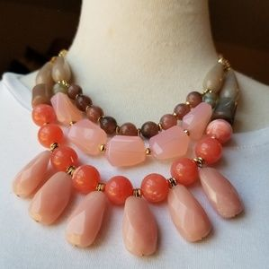 Pink Coral Color palette Necklace & Earrings Set